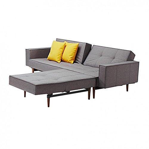 innovation splitback wood schlafsofa mit armlehnen grau. Black Bedroom Furniture Sets. Home Design Ideas