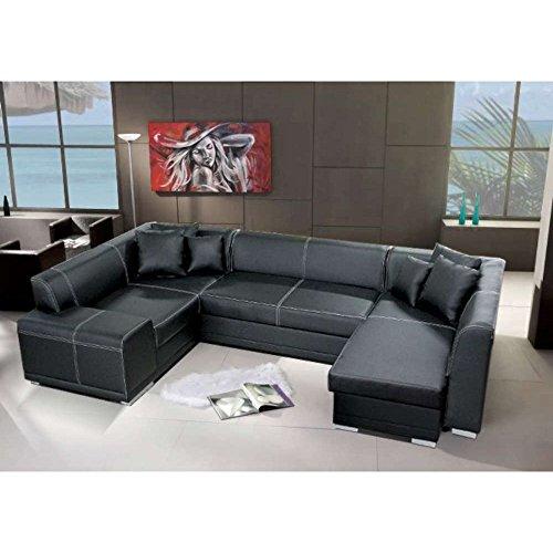 justhome vera bis wohnlandschaft couchgarnitur polsterecke kunstleder farbe schwarz hxbxl. Black Bedroom Furniture Sets. Home Design Ideas