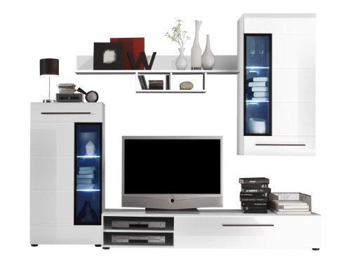 trendteam sn94702 wohnzimmerschrank wohnwand anbauwand weiss hochglanz bxhxt 235x189x47 cm. Black Bedroom Furniture Sets. Home Design Ideas