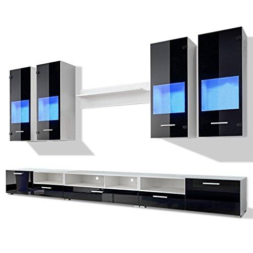hochglanz wohnwand anbauwand tv mbel blaue led lichter 8tlg schwarz 0. Black Bedroom Furniture Sets. Home Design Ideas