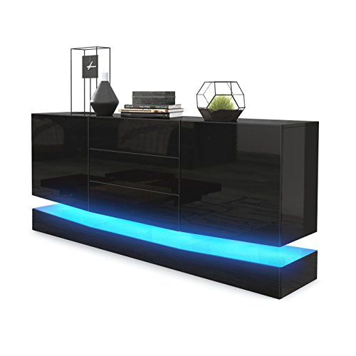 sideboard kommode city korpus in schwarz hochglanz fronten in schwarz hochglanz inkl led. Black Bedroom Furniture Sets. Home Design Ideas