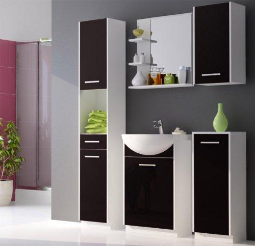 badm bel set badezimmerm bel mit waschbecken wei matt schwarz hochglanz m bel24. Black Bedroom Furniture Sets. Home Design Ideas