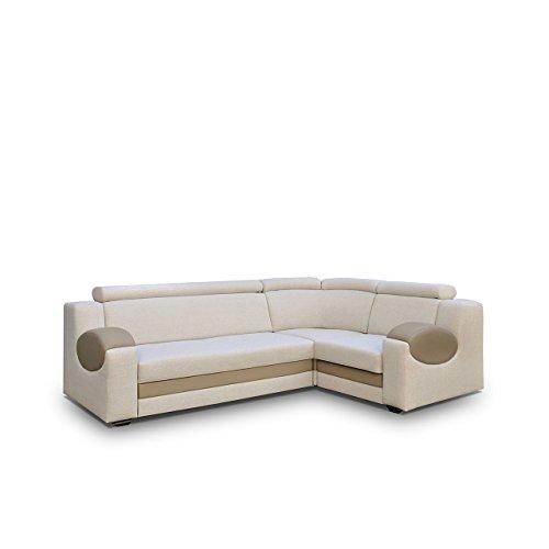 big ecksofa ambro mit einstellbaren kopfst tzen polsterecke mit bettkasten und schlaffunktion. Black Bedroom Furniture Sets. Home Design Ideas