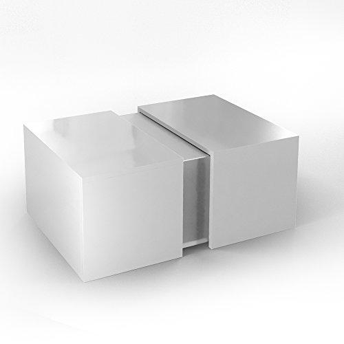 Couchtisch LED Weiß Hochglanz  Loungetisch Wohnzimmer
